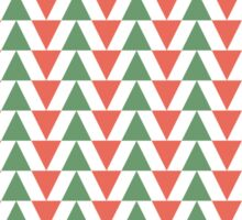 Red, green and white herring bone pattern in Christmas colours Sticker