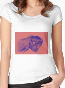 Colorful iguana watercolor painting Women's Fitted Scoop T-Shirt