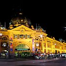 Melbourne by Night - Flinders St Station by Jo Williams