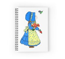 Beautiful Sunbonnet Girl and Hummingbird Greeting Card Spiral Notebook