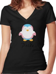 Trans Pride-guin Women's Fitted V-Neck T-Shirt