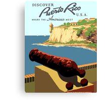 Vintage Discover Puerto Rico WPA Canvas Print