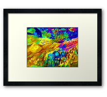 Landscape in vibrant, bright colours, energy painting Framed Print