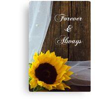 Rustic Sunflower and Barn Wood Country Wedding Keepsake Canvas Print