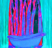 Bathroom with dreams energy painting pink rosa and blue by tanabe