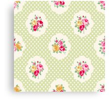 shabby chic, green,yellow,pink,red,white,polka dots, vintage,country chic,modern,trendy, Canvas Print