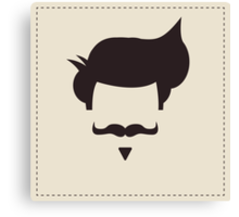 Hipster vintage hair style and mustache Canvas Print