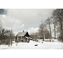 dilapidated wooden house cottage in winter  Photographic Print