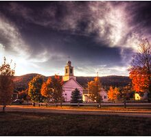 Dusk on the Rumney Town Common by Wayne King