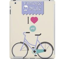 Vintage hipster bicycle, I love my bike iPad Case/Skin