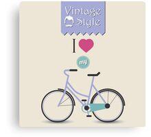 Vintage hipster bicycle, I love my bike Canvas Print