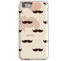 Vintage retro hipster mustache wallpaper iPhone Case/Skin