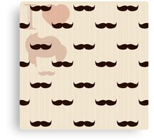 Vintage retro hipster mustache wallpaper Canvas Print