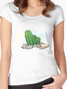 Vector image of cactus, stones and a shell Women's Fitted Scoop T-Shirt