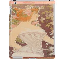 vintage lady in corset, art nouveau, floral,elegant,chic,reproduction,modern,trendy iPad Case/Skin