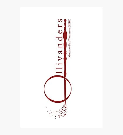 Ollivanders Logo in Red Photographic Print