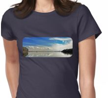 Brilliant Blue and White Cloud Waterscape. Womens Fitted T-Shirt