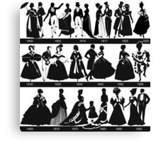 fashion for from 1800 - 1900,vintage clothing, style,elegant,chic,black on white, illustration Canvas Print