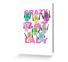 Crazy Bat Lady in Pink Greeting Card
