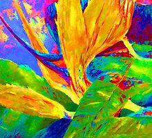 Flowers, strelizia, floral art in vibrant bright colours by tanabe