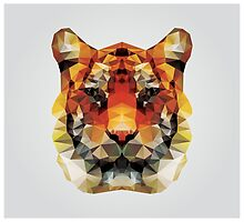 Geometric polygon tiger head, triangle pattern design by BlueLela