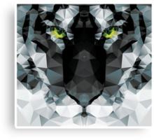 Geometric polygon white tiger head, triangle pattern design Canvas Print