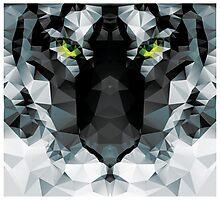Geometric polygon white tiger head, triangle pattern design Photographic Print