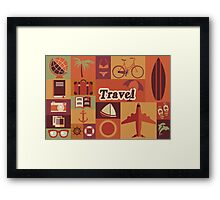 Collection of flat vintage retro travel icons, flat design Framed Print