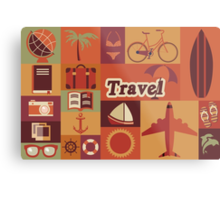 Collection of flat vintage retro travel icons, flat design Metal Print