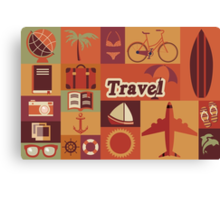 Collection of flat vintage retro travel icons, flat design Canvas Print