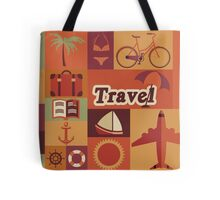 Collection of flat vintage retro travel icons, flat design Tote Bag