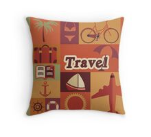 Collection of flat vintage retro travel icons, flat design Throw Pillow