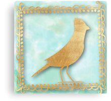 contemporary art, hand painted,bird,dooddles,gold,on mint water color background, modern,trendy Metal Print