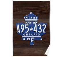 Toronto Maple Leafs License Plate Art Print - Dark Stain Poster