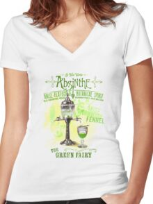 Absinthe the Green Fairy Women's Fitted V-Neck T-Shirt