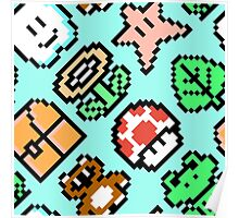 Super Mario Bros. 3 Items (pattern) Poster