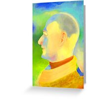 Digital painting man portrait in brillant colours Greeting Card