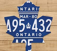 Toronto Maple Leafs Rustic Art Made from License Plates - Natural by Route401