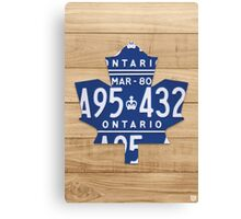 Toronto Maple Leafs Rustic Art Made from License Plates - Natural Canvas Print