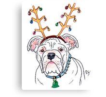 White Holiday Bulldog Canvas Print