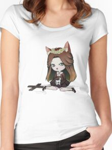 Cat Puppet - Creepy but cute Women's Fitted Scoop T-Shirt
