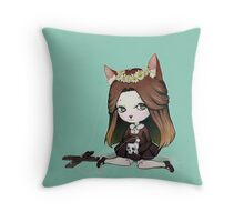 Cat Puppet - Creepy but cute Throw Pillow