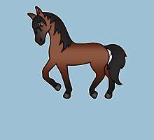 Bay Trotting Cartoon Horse T-Shirt