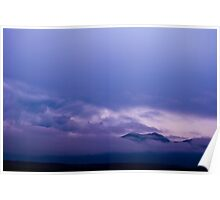 Purple Mountains Peeking Through the Clouds Poster