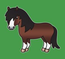 Brown Shetland Pony Cartoon Illustration by destei