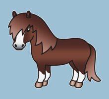 Chestnut Shetland Pony Cartoon Illustration by destei