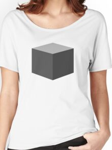 Cube Pattern Gray Women's Relaxed Fit T-Shirt