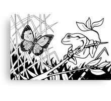 Frog and Butterfly Black and White Canvas Print