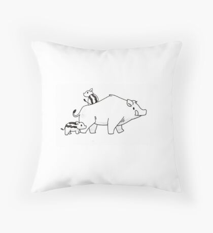 Boar Family Biddys,  Throw Pillow