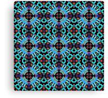 Aqua Geometric Mandala Pattern Canvas Print